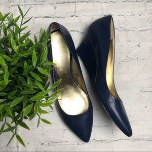 Nine West Blue Pointed Toe Wedges Size 9